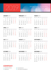 Calendar poster for 2019 year. Portrait oriantation. Vector design print template with abstract background or place for photo. Week starts on Monday