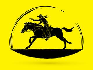 Cowboy riding horse,aiming a gun  graphic vector