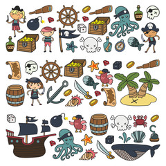 Children playing pirates Boys and girls Kindergarten, school, preschool, halloween party Treasure island, pirate ship, crab, parrot Adventure and travel and fun Birthday invitation