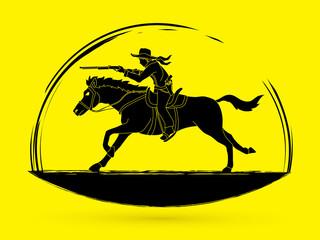 Cowboy riding horse,aiming rifle gun  graphic vector