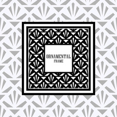 Luxury ornamental background with black frame. Template for design. Vector illustration
