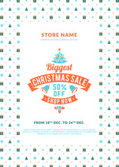 Christmas sale poster or flyer design. Discount offer. Vintage badge with winter background
