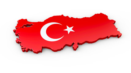 Türkei - 3D Karte oder Umriss mit Grenzverlauf