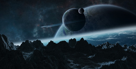 Asteroids flying close to planets 3D rendering elements of this image furnished by NASA