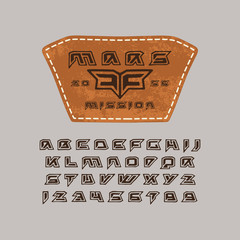 Futuristic font in the style of handmade graphics