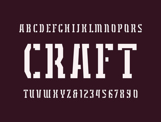 Narrow stencil-plate serif font in military style