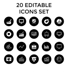 Diagram icons. set of 20 editable filled and outline diagram icons