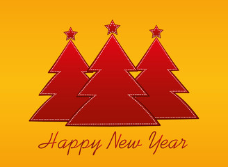 Three red new-year tree of paper. Christmas greeting card