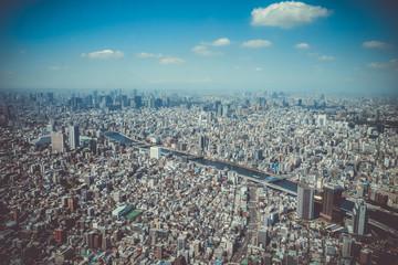 Tokyo city skyline aerial view, Japan