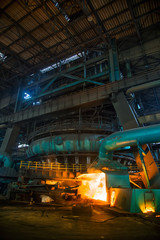 A blast furnace at a steel plant
