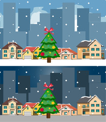 Night city and day christmas city and building.