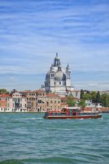 Venice, Basilica Santa Maria della Salute and tourist boat