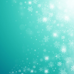 Christmas winter abstract background with snowflakes, bokeh lights and place for text. Xmas New Year's wallpaper