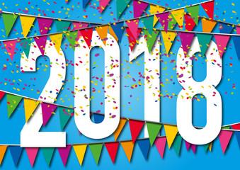 2018 - carte de vœux - réveillon - fête - noël - invitation - jour de l'an - année - décoration