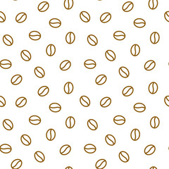 Coffee beans seamless pattern, vector background. Repeated light brown texture for cafe menu, shop wrapping paper. Flat line icons.