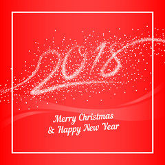 Christmas and New Year 2018 red background. Figures in the form of snowflakes. Design for new year greeting card, flyer, invitation, banner. Snowfall background. Vector illustration