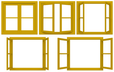 yellow window frame isolated on white background.