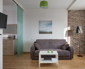 Interior of modern apartment in scandinavian style. NOTE: PHOTO ON THE WALL WAS MADE AND PRINTED BY ME!!!