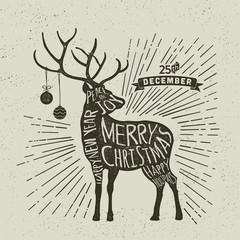 Christmas Typography Greeting card, reindeer