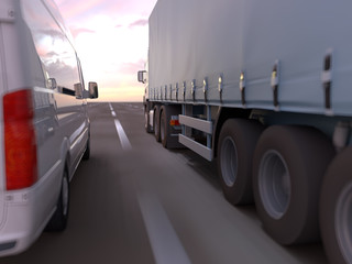 truck on a road