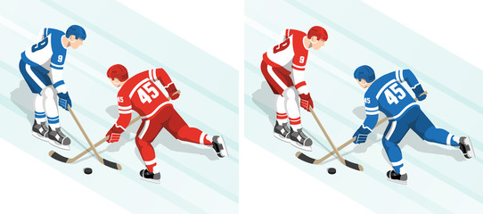 Ice hockey players in red and white blue uniform are fighting for the puck during the match. Isometric vector illustration.