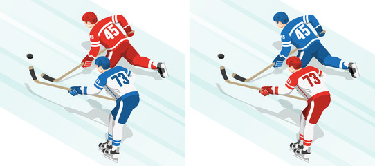 Red and blue hockey players chase the puck during the game. Isometric view from the back.