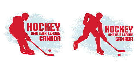 Hockey simple logos from the silhouettes of players and grunge spots in the background.