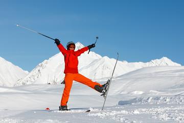 Woman prepares to ski in Gudauri ski resort, Georgia