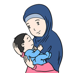 Muslim Mother and Son isolated Cartoon -Vector Illustration