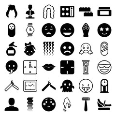 Set of 36 face filled and outline icons