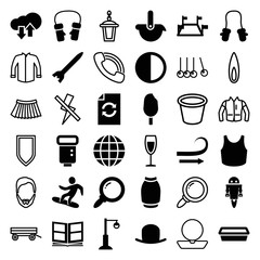Set of 36 collection filled and outline icons