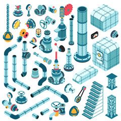 Spare parts for creating complex industrial machines - pipes, cranes, hulls, valves, splitters, fittings, flanges, portholes and so on. Isometric 3d illustration.
