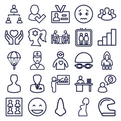 Set of 25 person outline icons