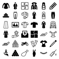 Set of 36 sketch filled and outline icons