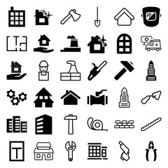 Set of 36 construction filled and outline icons