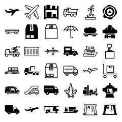 Set of 36 cargo filled and outline icons