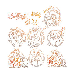 Set of yellow dog for New Year 2018, cute symbol of horoscope. Cute puppys in cartoon doodle style.