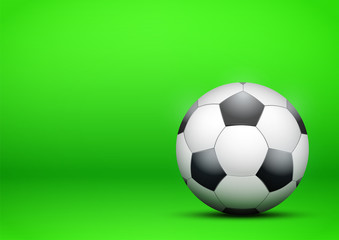 Football Soccer on bright green background. Presentation backdrop of sport design. Vector Illustration.