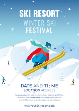 Winter Ski festival poster invitation vector illustration, Ski resort flyer
