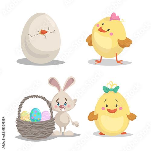 Spring Character Mascot And Seasonal Vector Illustrations Set