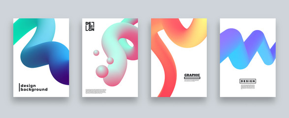 Abstract cover template set, Modern design with gradients, vector illustration