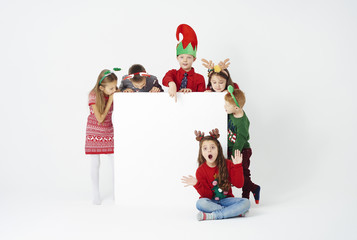 Banner and group of children in christmas costume
