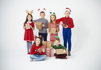 Portrait of children showing their gifts