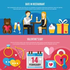 Flat Valentines Day Banner Set