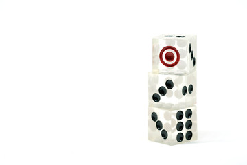 3 dice transparent on a white background