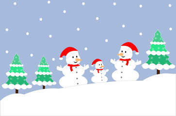 Winter Snowman family background