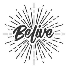 belive text typography sun circle retro vintage design