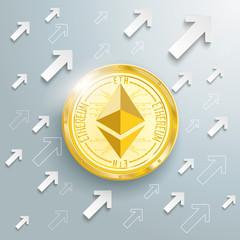 Golden Ethereum Arrows Growth