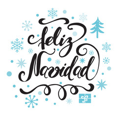 Merry Christmas Print. Typography design with blue snowflakes, ornament. Inscription in Spanish