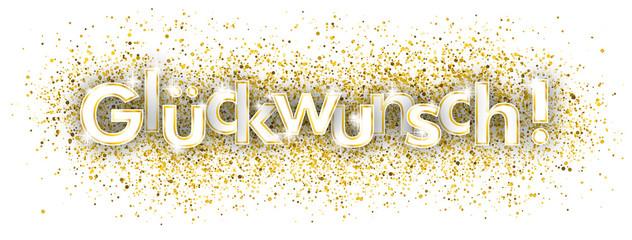 Glückwunsch Headliner mit goldenem Sand